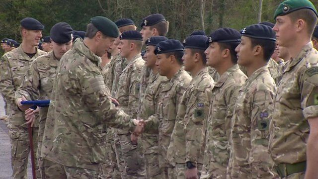 Soldiers from 36 Engineers receiving medals for service in Afghanistan