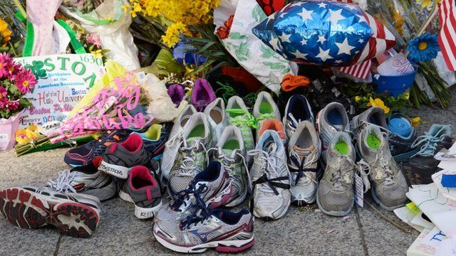 Shoes set as a memorial in Boston