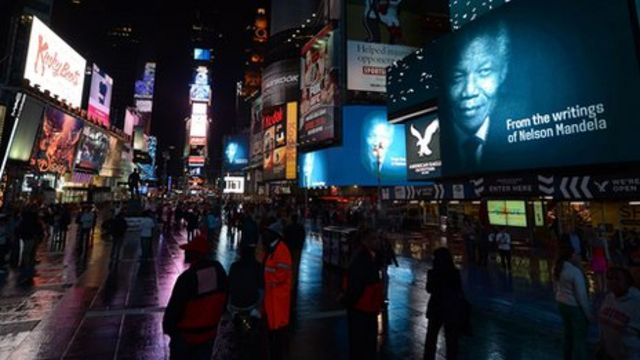 Mandela honoured by film installation in Times Square