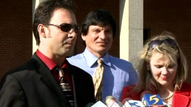Paul Kevin Curtis (far left) outside court