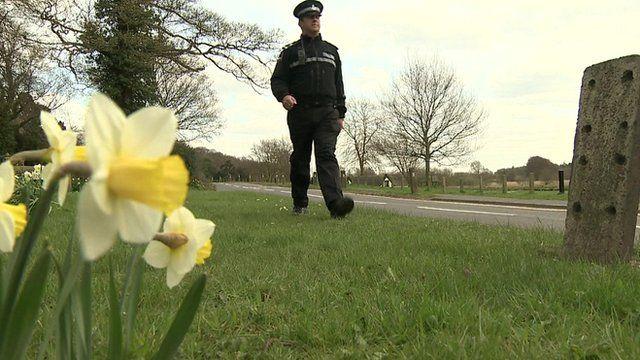 Policeman and daffodils