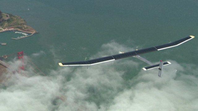 Solar Impulse over San Francisco's Golden Gate Bridge