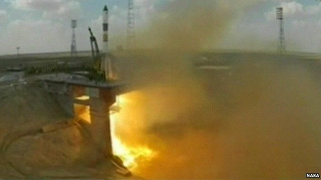 The Progress 51 cargo ship blasts off from the Baikonur Cosmodrome in Kazakhstan