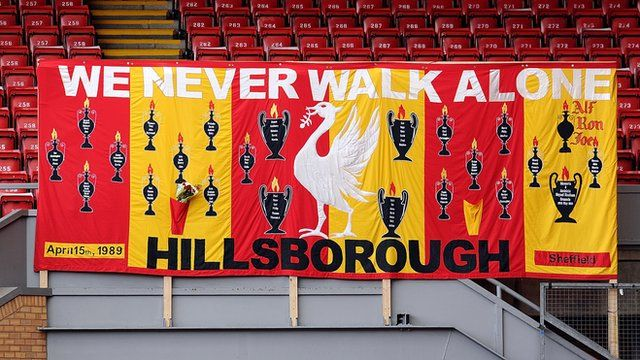 Banner in memory of Hillsborough victims