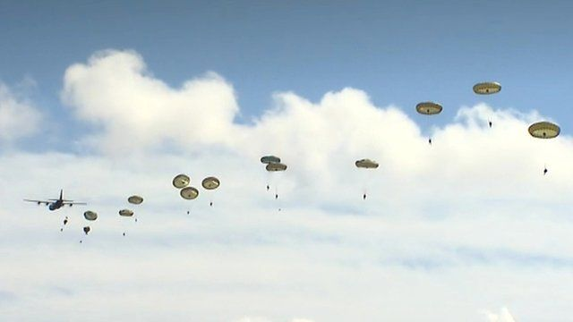 Troops during a parachute exercise