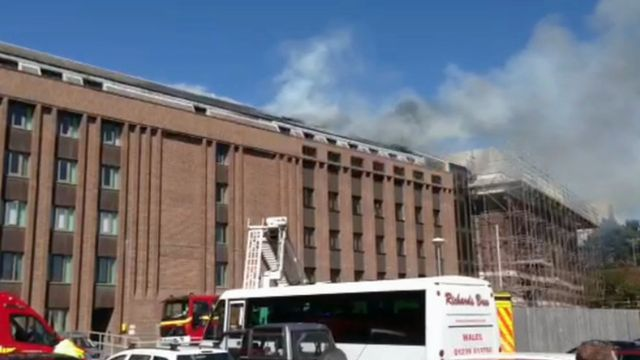 Smoke rises from the National Library of Wales