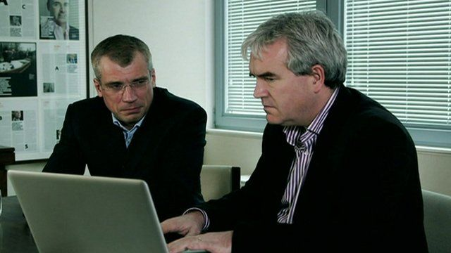 Panorama's Darragh MacIntyre (right) listens to death threats