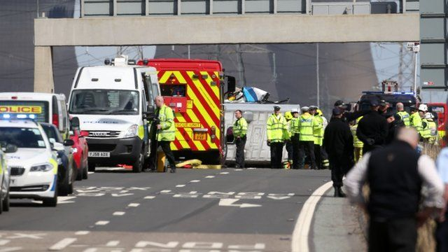 The scene of a road traffic accident on the westbound carriage of the M62 near Pontefract in West Yorkshire
