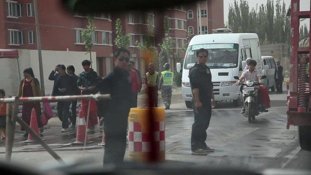 The BBC team pass through a checkpoint