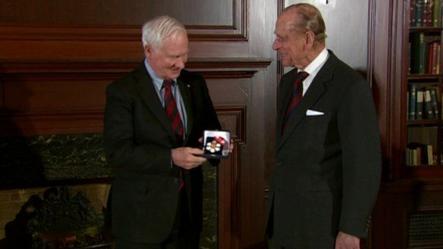 Prince Philip presented with decorations by the Governor General of Canada