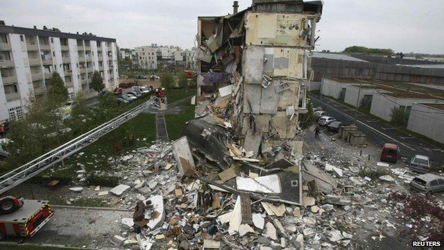 Part of the block of flats collapsed