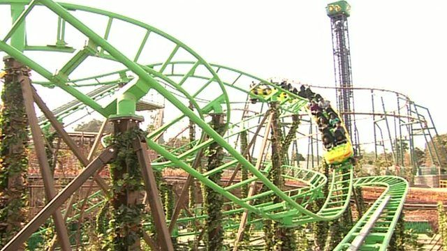 A rollercoaster at the theme park