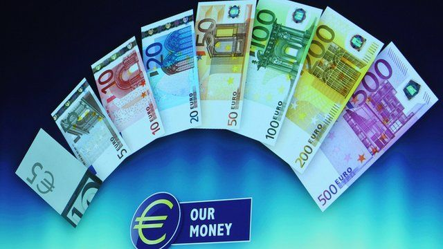 Euro notes on display