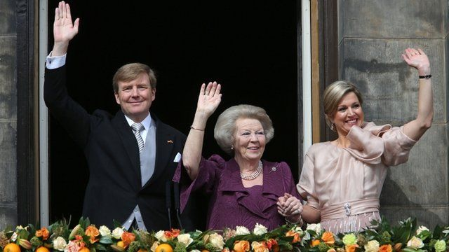 Dutch King Willem-Alexander, Queen Maxima, right, and Princess Beatrix