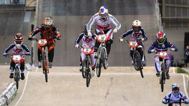Shanaze Reade competing at the UCI BMX Supercross World Cup 2013