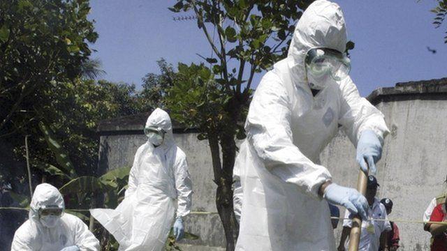 Indonesian health officials during an avian flu virus, bird flu drill
