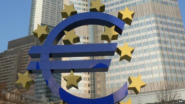 The Euro sign in front of the ECB (European Central Bank) in Frankfurt am Main