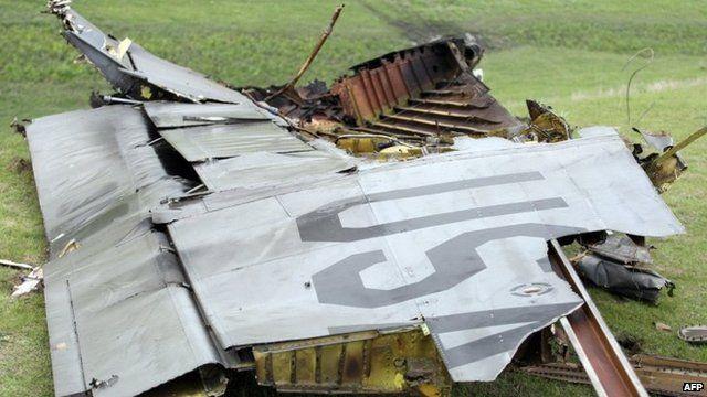 Debris of crashed US plane