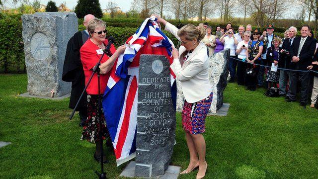 The Countess of Wessex unveils a memorial at the National Arboretum Centre, Alrewas, Staffordshire