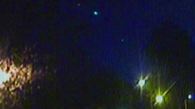 CCTV in Cardiff captures meteorite across night sky (top centre of picture)