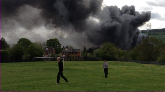 Smoke rising from the old Thorntons warehouse in Belper, Derbyshire