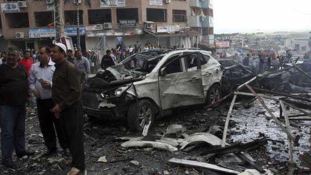 Aftermath of car bombs in Reyhanli