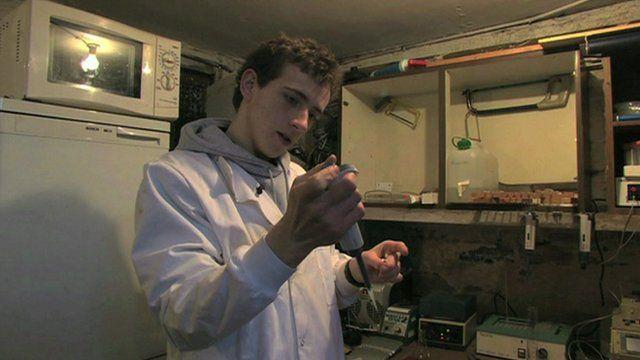 Teenage scientist Fred Turner in his laboratory