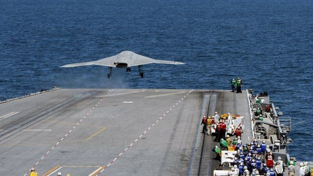 An X-47B Unmanned Combat Air System launches from the flight deck of the aircraft carrier USS George H.W. Bush.