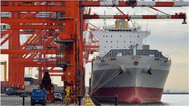 Ship being unloaded in Tokyo port