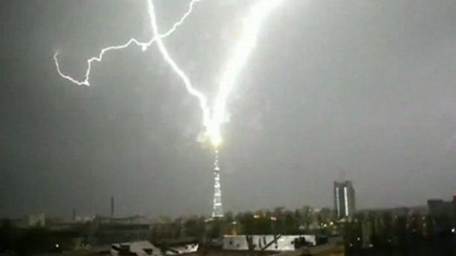 A television tower in Russia being struck during a lightning storm.