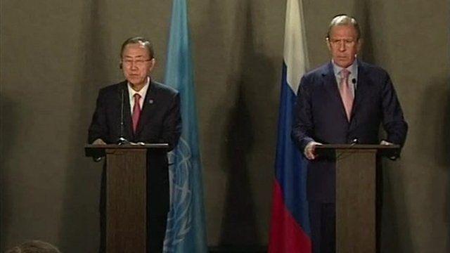 Ban Ki-moon and Sergei Lavrov