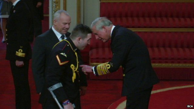 Lance Bombardier Ben Parkinson receives MBE from Prince Charles