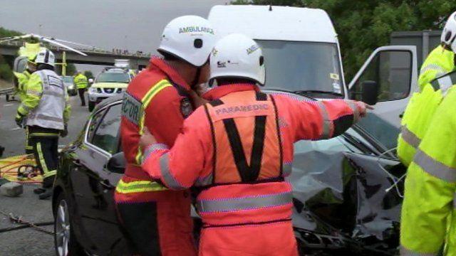 Air ambulance team at M1 accident