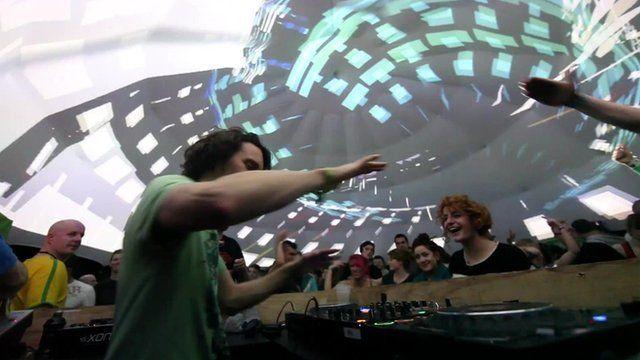 A DJ and a light show