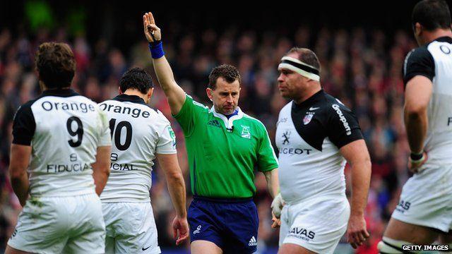 Nigel Owens refereeing Heineken Cup quarter final between Edinburgh and Toulouse