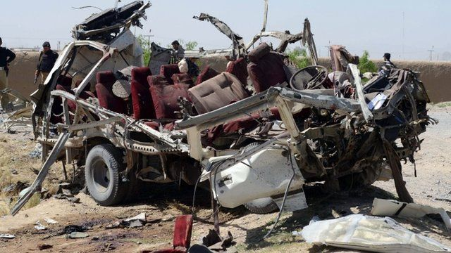 The wreckage of a Pakistani security forces vehicle following a bomb explosion in Quetta