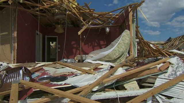A house destroyed by the tornado