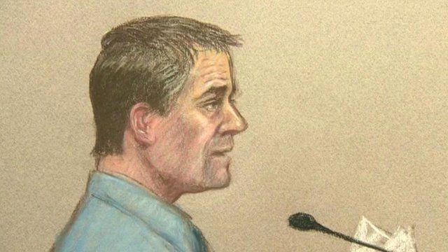 A courtroom sketch of Mark Bridger