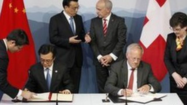 China seals first free-trade deal with Switzerland