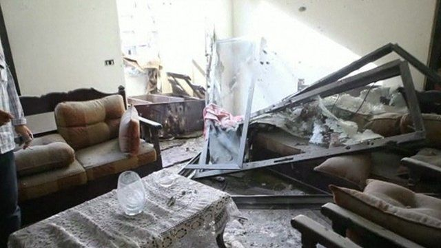 Residential building struck by rocket in Beirut
