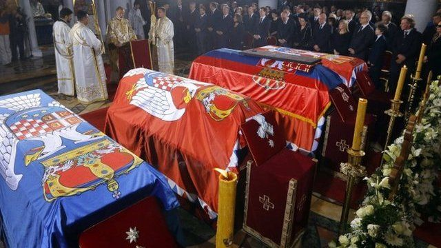 The coffins of Peter II, his wife, mother and brother lie inside St George's Church (May 26 2013)