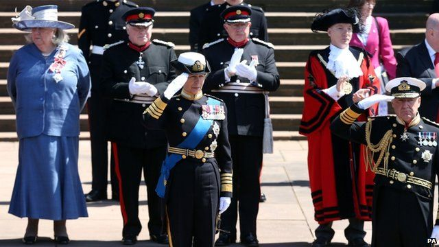 The Princess Royal salutes the parade