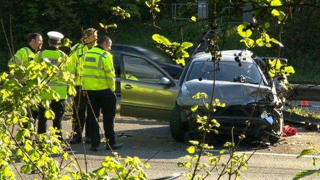 Scene of the M6 crash in Staffordshire