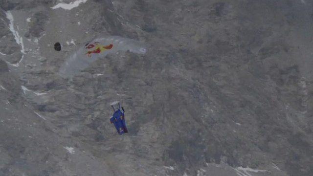 Base jump off Mount Everest