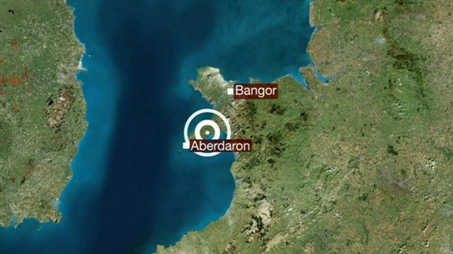 Map showing epicentre of earthquake in North Wales