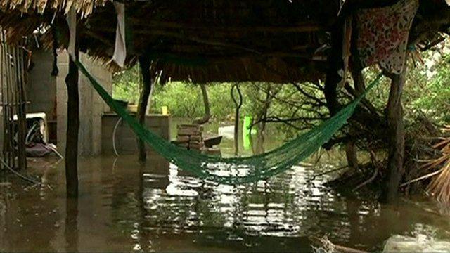 Hammock over flooded veranda