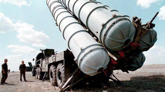 Russian S-300 air-defence missiles being prepared to be launched at a military training ground in Russia