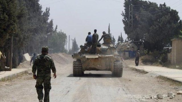 Syrian government troops in Arjun in Qusair, 30 May