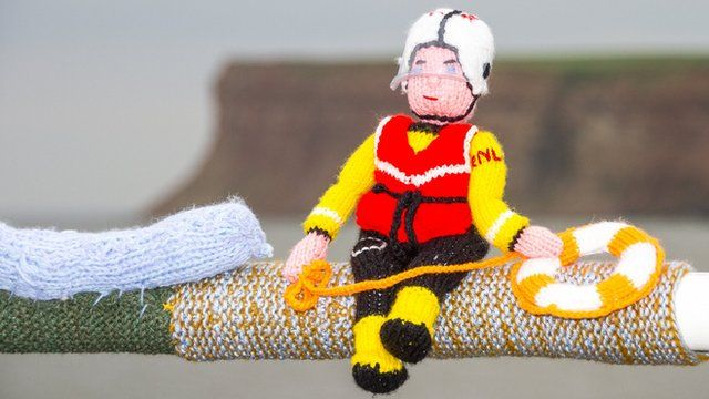 Knitted RNLI lifeguard at Saltburn