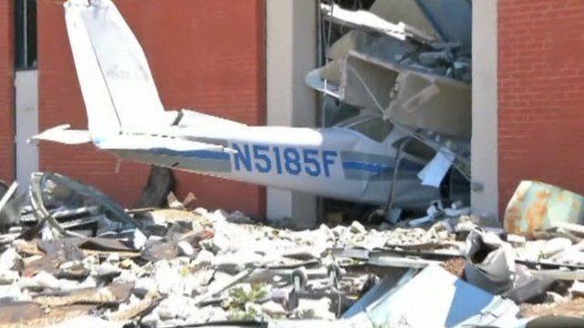 Plane wreckage in side of building